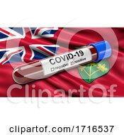 Flag Of Ontario Waving In The Wind With A Positive Covid 19 Blood Test Tube