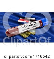 Flag Of Alberta Waving In The Wind With A Positive Covid 19 Blood Test Tube