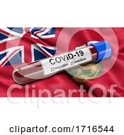 Flag Of Manitoba Waving In The Wind With A Positive Covid 19 Blood Test Tube