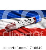 Flag Of Schleswig Holstein Waving In The Wind With A Positive Covid 19 Blood Test Tube