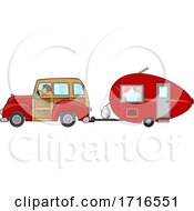 Cartoon Woman Driving A Red Woody Car And Pulling A Teardrop Trailer