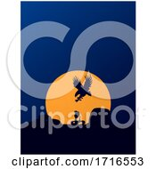 Hunting Eagle And Snake Silhouette On Blue Background With Sun
