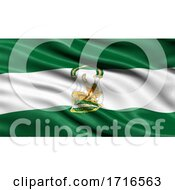 Flag Of Andalusia Waving In The Wind