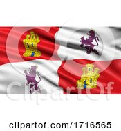 Flag Of Castile And Leon Waving In The Wind