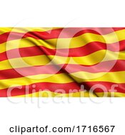 Flag Of Catalonia Waving In The Wind