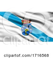 Flag Of Galicia Waving In The Wind