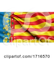 Flag Of The Valencian Community Waving In The Wind