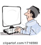 Cartoon Happy Man Working At A Computer