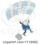 Businessman Parachuting And Dropping His Briefcase