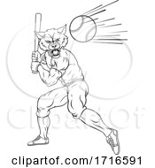 06/12/2020 - Wolf Baseball Player Mascot Swinging Bat At Ball