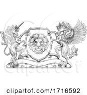Poster, Art Print Of Crest Pegasus Unicorn Coat Of Arms Lion Shield
