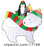 Cute Penguin Wearing A Hat Riding On The Back Of A Polar Bear That Is Wearing A Scarf And Hat On Christmas by Maria Bell