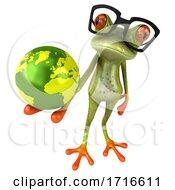Poster, Art Print Of 3d Green Springer Frog On A White Background