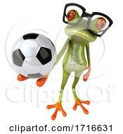 3d Green Springer Frog On A White Background