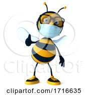 Poster, Art Print Of 3d Male Bee Wearing A Mask On A White Background