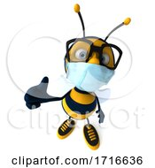 3d Male Bee Wearing A Mask On A White Background