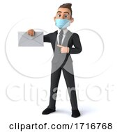 Poster, Art Print Of 3d Young White Business Man On A White Background