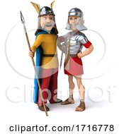 3d Gaul Warrior And Roman Legionary Soldier On A White Background by Julos