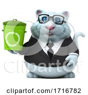 3d White Business Kitty Cat On A White Background