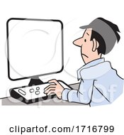 Cartoon Unhappy Man Working At A Computer