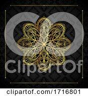 Poster, Art Print Of Elegant Background With Gold Border And Mandala Design