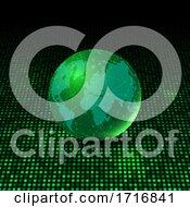 Poster, Art Print Of World Globe On Glowing Dots Background