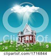 3D House Nestled In Grass And Daisies Against A Blue Sunny Sky