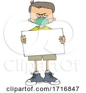 Cartoon Angry Boy Wearing A Sign And Holding A Mask