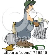 Cartoon Garbage Man Wearing A Mask