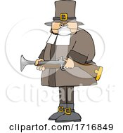 Poster, Art Print Of Cartoon Pilgrim Wearing A Mask And Holding A Blunderbuss Rifle