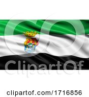 Flag Of Extremadura Waving In The Wind