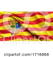 Flag Of Aragon Waving In The Wind
