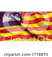 Flag Of The Balearic Islands Waving In The Wind