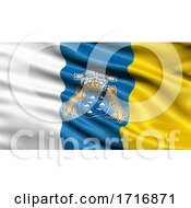 Flag Of The Canary Islands Waving In The Wind
