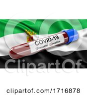 Flag Of Extremadura Waving In The Wind With A Positive Covid 19 Blood Test Tube