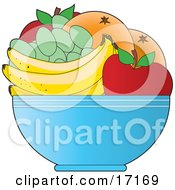 Bowl Of Fresh Fruit Including Red Apples Green Grapes Bananas And Oranges Or Grapefruit Clipart Illustration by Maria Bell