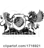 Coat Of Arms Pegasus Lion Crest Shield Family Seal