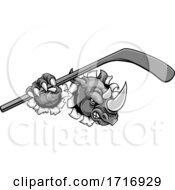 Rhino Ice Hockey Player Animal Sports Mascot by AtStockIllustration