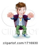 Poster, Art Print Of Kid Cartoon Boy Child In Vampire Halloween Costume