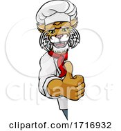 Poster, Art Print Of Wildcat Chef Mascot Sign Cartoon Character
