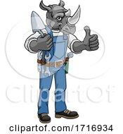 Poster, Art Print Of Rhino Bricklayer Builder Holding Trowel Tool