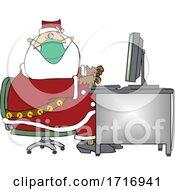 Cartoon Christmas Santa Claus Wearing A Mask At A Computer Desk