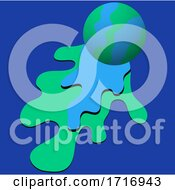 Poster, Art Print Of Blue And Green Ball On Color Splash