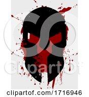 Poster, Art Print Of Spartan Helmet Silhouette On Grunge Background