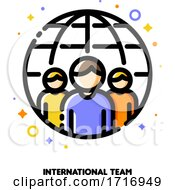 Poster, Art Print Of Icon Of Three Persons On A Background Of Globe For International Team Or Workforce Outsourcing Concept