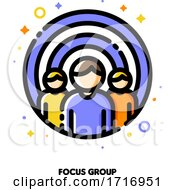 Icon Of Three Persons On A Background Of Shooting Target For Focus Group Or Market Research Concept