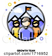 Icon Of Three Persons On A Background Of Mountain Peak For Business Development Or Growth Team Concept