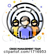 Icon Of Three Persons On A Background Of Maze For Crisis Management Or Problem Solving Team Concept