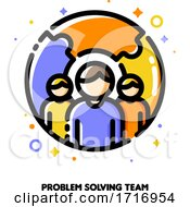 Poster, Art Print Of Icon Of Three Persons On A Background Of Puzzle For Problem Solving Or Crisis Management Team Concept