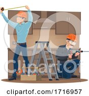 Workers Building A Kitchen
